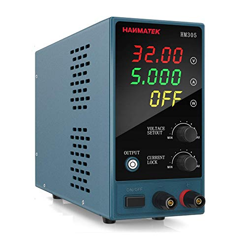 Fuentes de Alimentación Regulables, HANMATEK HM305 Fuentes de Alimentación Laboratorio DC Variable 30 V / 5 A, LED Display de 4 Dígitos, Para Laboratorio, Hogar, Reparación General