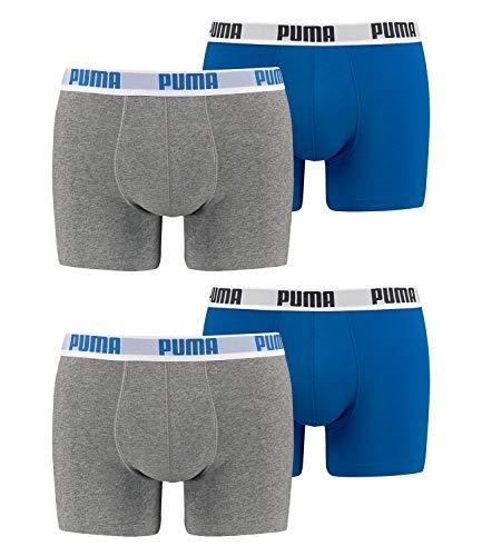 Puma Basic Boxershort / Unterhosen, 4er-Packung, für Herren L grau/blau/grau/blau