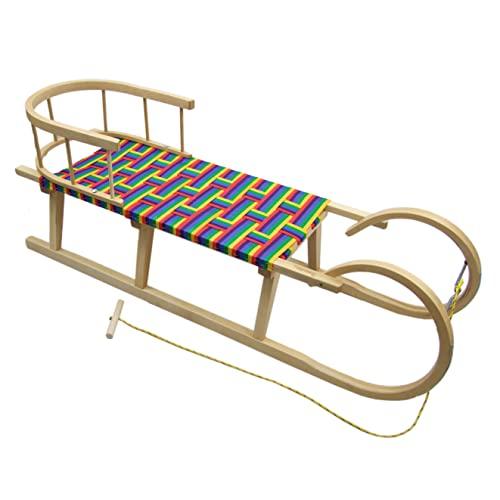 Unbekannt BAMBINIWELT Hörnerschlitten Hörnerrodel Holzschlitten mit Rückenlehne und Zugseil Sitzfläche aus Kunstfasern120cm REGENBOGENDESIGN