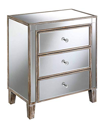 Convenience Concepts Gold Coast Large 3 Drawer Mirrored End Table, Weathered White / Mirror