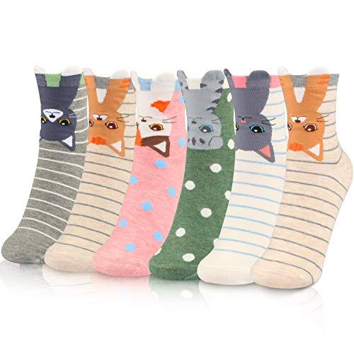 WOSTOO Calcetines de Mujer, 6 Pares Calcetines de Algodón para Mujeres Colores Mezclados Animales de Dibujos Gato Patrón Calcetines Calcetines Calientes de Divertidos Ocasionales