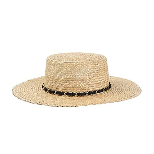 YFZCLYZAXET Sombreros De Paja Gorra De Mujer Sombrero De Paja para Mujer Sombreros De Playa De ala Ancha Cadena Decorada Novedad
