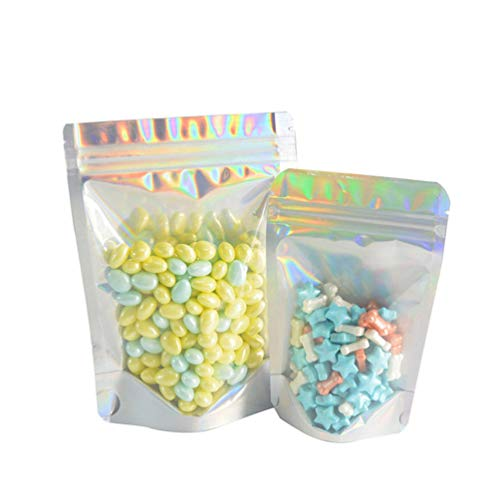 NUOBESTY 100 Stück Druckverschlussbeutel für Partybevorzugung Lebensmittellagerung Wiederverschließbare Geruchsneutrale Beutel Folienbeutel Beutel Flache Holographische Farbe