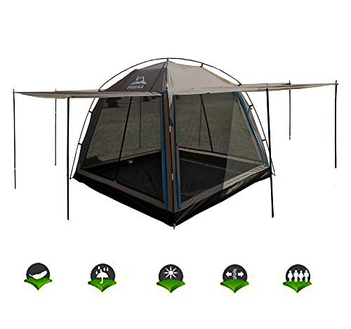 Hasika All-Weather Diversified 8ft x 8ft Screened Canopy 4-Person Camping Tents-Brown(not Include Outside Poles)