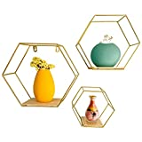 Wall Mounted Floating Hexagon Shelves, Metal Framed Gold Shelves with Wood Based...