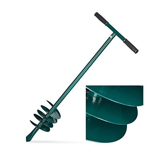 Relaxdays, grün Erdbohrer Hand, abnehmbarer Griff, Pfosten, Pflanzen, Eisen, Bohrschnecke D: 140mm, Lochbohrer 88cm lang