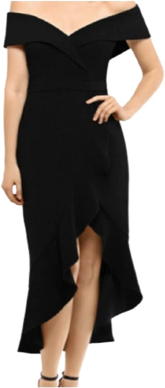 Xscape Womens Black Cap Sleeve Off Shoulder Midi Cocktail Dress Size 4