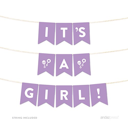 Andaz Press Girl Baby Shower Hanging Pennant Garland Party Banner with String, Lavender, Its a Girl!, 5-feet, 1-Set