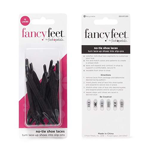 Fancy Feet Elastic No Tie Shoelaces - One Size Fits All - 12 Laces (Black)
