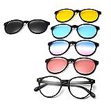 GreeSuit Gafas de sol con lentes 6 en 1 anteojos de metal con montura con clip antideslumbrante magnético lentes de conducción gafas de sol gafas ópticas (2)