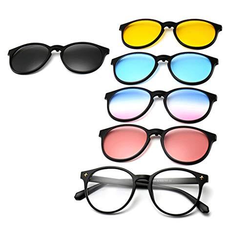 GreeSuit Sonnenbrille mit aufsteckbaren Gläsern 6-in-1-Metallrahmen-Brille Mit aufsteckbarer magnetischer, blendfreier Sonnenbrille mit aufsteckbaren optischen Gläsern (2)