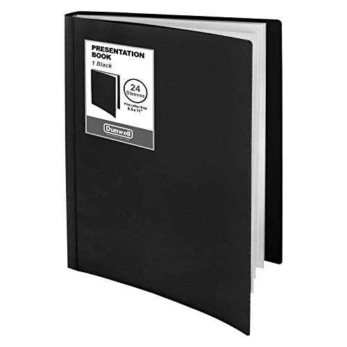 """Dunwell Binder with Plastic Sleeves (Black), 24-Pocket Bound Presentation Book with Clear Sleeves, Displays 48 Pages of 8.5x11"""" Paper, Sheet Protector Binder, Portfolio Folder"""