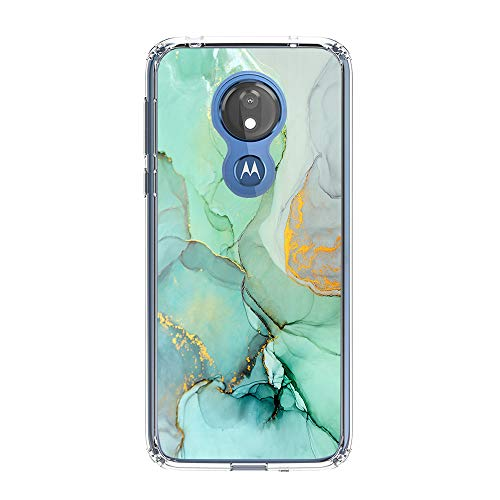 uCOLOR Green Abstract Marble Case Compatible with Moto G7 Power/Moto G7 Supra/Optimo Maxx Transparent Clear Stylish Protective Thin Slim Crystal Clear Hybrid Case (Mint Blue Marble)