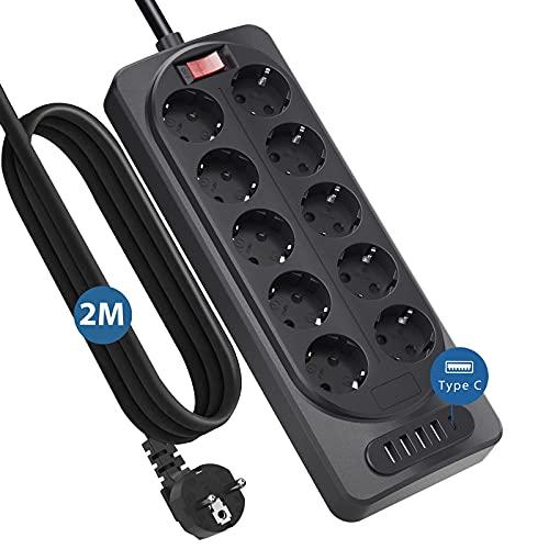 Regleta Enchufes Multiple,Kinglink Regletas con 10Enchufes y 5USB, 10Tomas [4000W] con 1USB-C+4USB-A (5V/3.4A), Múltiples Enchufes con Protección Sobretensiones,Ladron Enchufes USB con 2M Cable