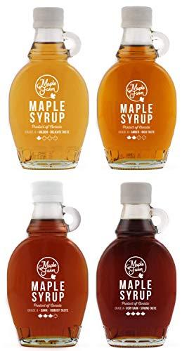 MapleFarm - Reiner Ahornsirup. Vier Flaschen 189 ml (250 g) mit 4 Varianten: GOLD - AMBER - DARK - VERY DARK