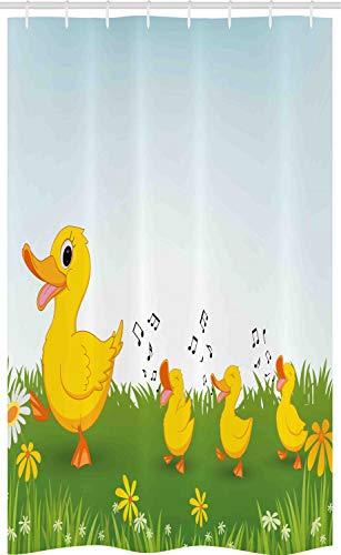 ABAKUHAUS Tier Schmaler Duschvorhang, Mutter Ente & Babys, Badezimmer Deko Set aus Stoff mit Haken, 120 x 180 cm, Hellblau & Senf