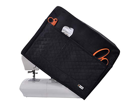 AHM Sewing Machine dust Cover with Large Storage Pockets, Compatible with Most Standard Usha, Singer and Brother Machines (Black)