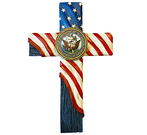 Urbalabs US United States Navy Wall Hanging Decor Cross US Flag and Navy Symbol Design Home Wall Cross Decor Stars and Stripes Support Our Troops 12 Inch