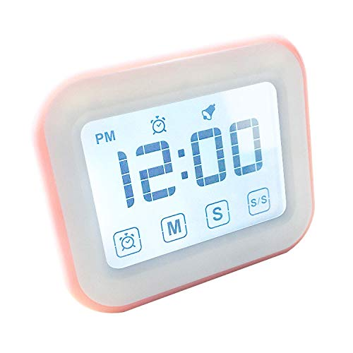 XGQ Kitchen Timer Reloj Despertador Digital Gran Pantalla táctil LCD Viene con luz Nocturna for cocinar Hornear (Negro) (Color : Pink)