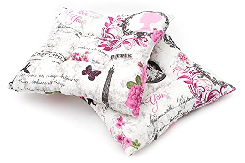 E&A - Juego de 2 cojines para silla, interior y exterior, de algodón, para oficina, jardín, cocina, salón, 32 x 32 x 5 cm, color rosa