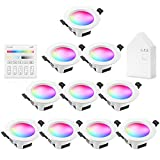 9W 700LM Wifi Spot Led Encastrable RGBWC(RGB+Blanc froid+Blanc chaud) Plafonnier Lampe, Bluetooth Mesh éclairage plafond encastré pour exposition, salon, cuisine, ktv, bars (10 Pieces)