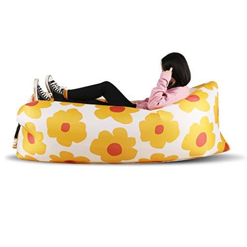 Beautiful girl's shop Aufblasbares Bett Lazy Air Cushion Set Aufblasbare Luftkissen-Matratze Aufblasbare Luftkissen-Luftmatratze (Farbe : Orange Cherry Blossom)