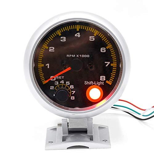 JCYM Medidores para Coches 80mm 0~8000 Auto Car Fibra de Carbono Tacómetro Frontal RPM Gauge RPM Meter con luz de Cambio Amarillo Conjuntos de Calibre automotriz