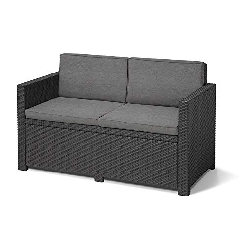 Koll Living Lounge-Sofa Korsika, anthrazit - bequemes 2-Sitzer Sofa inkl. Sitz- & Rückenkissen - in naturgetreuer Rattanoptik - vielseitig mit Lounge-Sitzgruppen kombinierbar