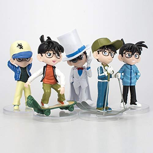 Dhl 5 Detective Conan Anime Ornaments Kaitou Kidd Miyato Shinichi Skateboard Puppe 11-14 cm