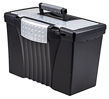 Storex Legal File Box with Organizer Lid – Plastic Office File Storage Box for Letter and Legal Hanging Folders 17.13 x 9.63 x 11 Inches Black 1-Count  61510U01C