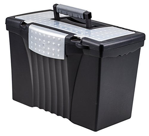 Storex Legal File Box with Organizer Lid – Plastic Office File Storage Box for Letter and Legal Hanging Folders, 17.13 x 9.63 x 11 Inches, Black, 1-Count (61510U01C)