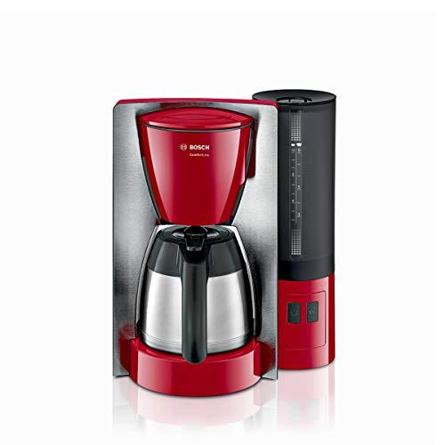 Bosch TKA6A684 ComfortLine Filterkaffeemaschine, Aroma+, Thermokanne, abnehmbarer Wassertank (1 L), 1200 W, Edelstahl/rot