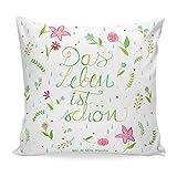 Mr. & Mrs. Panda Dekokissen, Kopfkissen, 40x40 Kissen Blumen Das Leben ist schön mit Spruch - Farbe