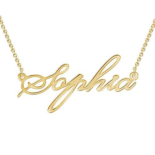 Soufeel Namenskette Personalisierte Namen Halskette 925 Sterling Silber 14K Gold Vergoldet (Keine Interpunktion und Symbole)