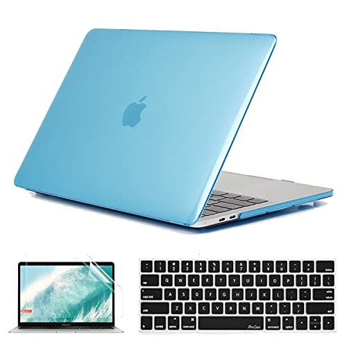 BlinkCat 2 in 1 Laptop Case for MacBook Pro 13' Retina (A1502 / A1425), Ultra Slim Plastic Hard Shell Crystal Case with Keyboard Cover & Screen Protector - Aqua Blue