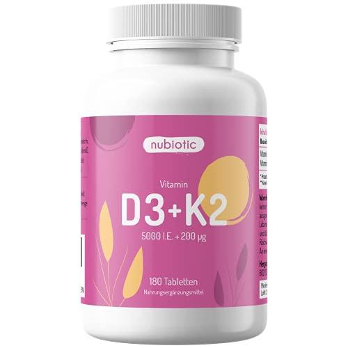 Nubiotic Vitamin D3 + K2 hochdosiert – 5000 IE D3 + 200 µg K2 MK7 – 180 Tabletten – Vorratspackung – optimales Verhältnis von D3 und K2