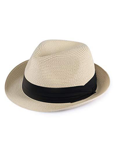 FURTALK Fedora Straw Sun Hat for Men Women Foldable Roll Up Short Brim Trilby Hat Panama Beach Hat UPF 50+ Beige