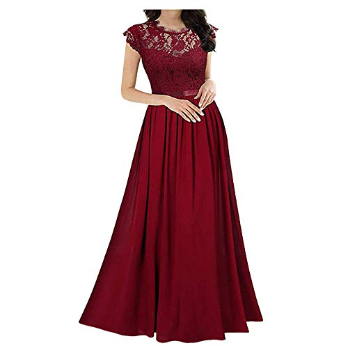QiFei Elegante mouwloze damesjurk met ronde hals, vintage, kanten jurk, bruiloft, chiffon, plooirok, lange jurk, kanten jurk, bruidsmeisje, elegante cocktailjurk, chiffon, mouwloos