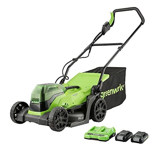 Greenworks Cortacésped sin cable GD24X2LM36K2x, Li-Ion 2x24V 36cm anchura hasta 250m² 40L recogedor de hierba 5 regulaciones altura de corte con batería de 2x2Ah y cargador de doble ranura