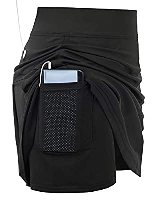 Women's Tennis Skirt with Built-in Shorts for Running Active Workout(2XL,Multi Black