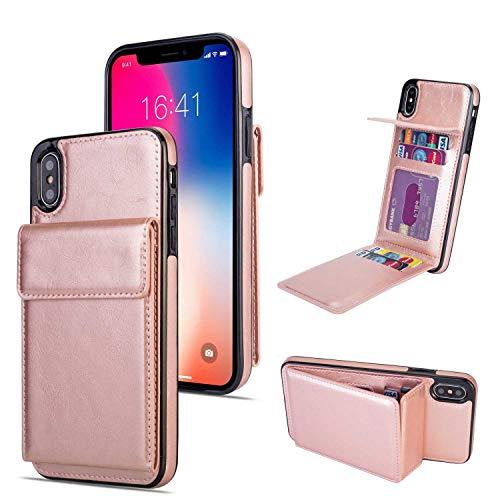 iPhone XS Max Hülle, SONWO Premium PU Ledertasche Ultra Dünne Rückschale Stoßfest Schutzhülle mit mit Kartenhalter kompatibel für iPhone XS Max, Rose Gold