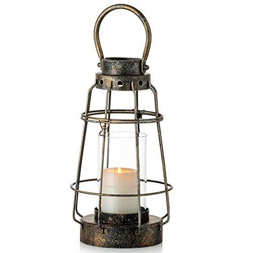 Nuptio Vintage Kerzenlaternen Dekorativ mit Griff Rustikale Tragbare Säule Kerzenhalter mit Glas Schmiedeeisen Bauernhaus Laterne für Hochzeitsfeier Herzstück Garten Dekor Indoor Outdoor Verwendung