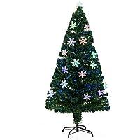 HOMCOM Árbol de Navidad Artificial Árboles de Abeto 150cm con Soporte Decoraciones Navideñas Copos de Nieve Fibra Óptica Brillante LED Multicolor Ignífugo