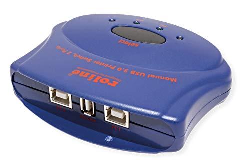ROLINE 14012332 handmatige USB 2.0 switch, 2 poorten blauw
