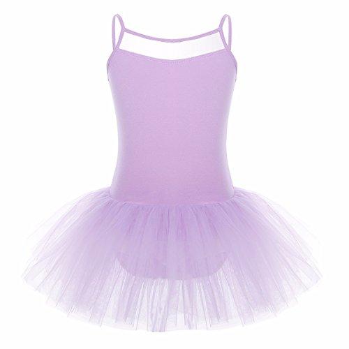 IEFIEL Fille Princesse Robe de Danse Tutu Ballet Classique Robe Bretelle Dos U Justaucorps Gymnastique Tutu Tulle Costume 3-12 Ans Violet 7-8 Ans