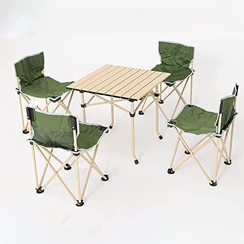 Klapptisch- und Stuhlset, tragbarer Camping-Gartentisch, Leichter Sitzhocker mit Rückenlehne, für Outdoor-Wanderpatio-Grill, A.