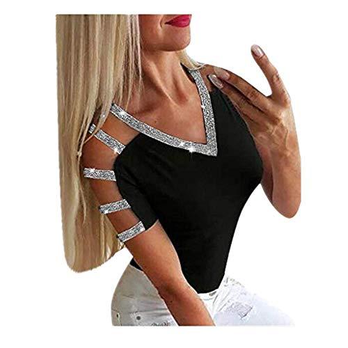 T-Shirt Donna 2020 ITISME Moda Estive Ragazza Maglietta Manica Corta con Strass Eleganti V-Collo Sexy Scavato Spalla Scoperta Top