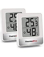 ThermoPro TP49 2 Piezas Mini Termómetro Higrómetro Digital Termohigrómetro de Interior Medidor de Temperatura y Humedad para Medir Ambiente del Hogar, Blanco
