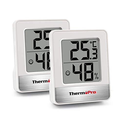 ThermoPro TP49 digitales Mini Thermo-Hygrometer 2er Set Innen Thermometer Hygrometer Temperatur und Luftfeuchtigkeitmessgerät mit Raumklima-Indikator für Raumklimakontrolle, Weiß