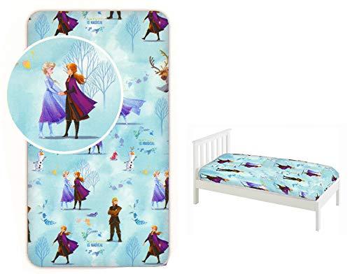 Disney Frozen II - Sábana bajera ajustable para cama individual, 90 x 200 cm, 100% algodón, con licencia oficial